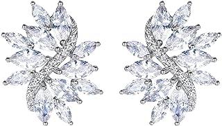 EVER FAITH Women's Cubic Zirconia Elegant Bridal Floral Leaf Pierced Stud Earrings
