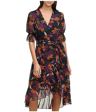 Calvin Klein Print Faux Wrap Hi-Low Dress
