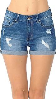 Wax Women's Juniors Butt I Love You High-Rise Body Enhancing Push-Up Ripped Denim Shorts