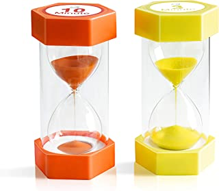 Sand Timer,XINBAOHONG Hourglass Sand Timer 3 Minutes 10 Minutes Timer Clock for Kids Games Classroom Home Office Kitchen Use (Pack of 2)