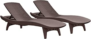 Keter Set of 2 Pacific Sun Lounge Outdoor Chaise Pool Chairs with Resin Rattan Look and..