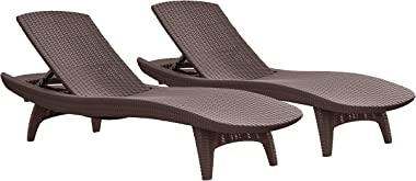 Keter Set of 2 Pacific Sun Lounge Outdoor Chaise Pool Chairs with Resin Rattan Look and Adjustable Back, Brown