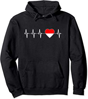 Indonesian Heartbeat I Love Indonesia Heart Flag Gift  Pullover Hoodie