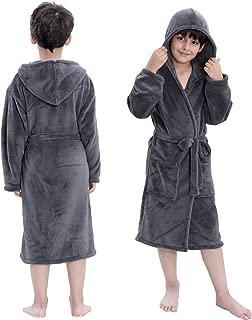 Hooded Herringbone Boy's Fleece Grey Soft Spa Kimono Long Robe,Kids Comfy Sleepwear Bathrobe