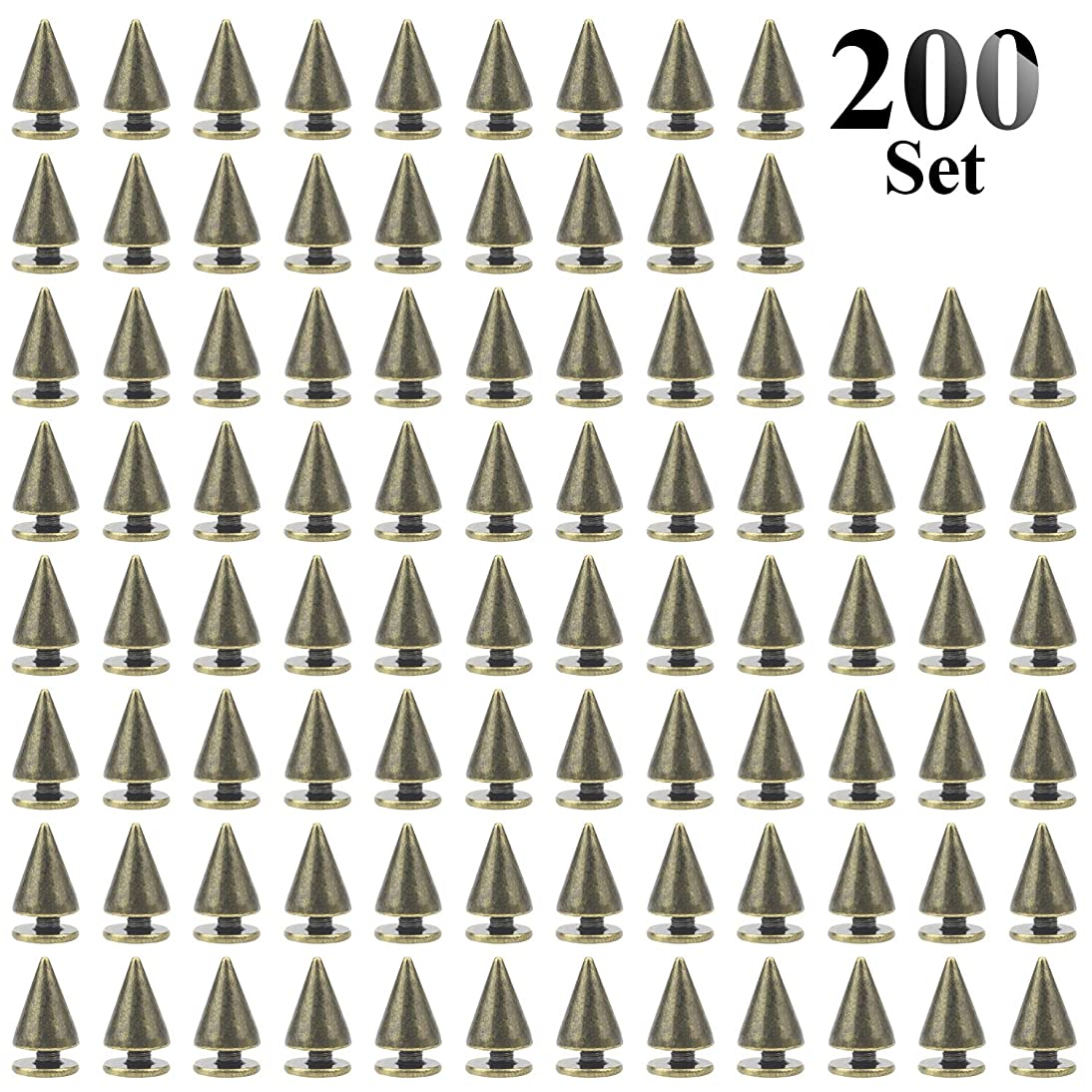 Favordrory 7mmx10mm Bronze Bullet Cone Spike and Stud Metal Screw Back for DIY Leather Crafts