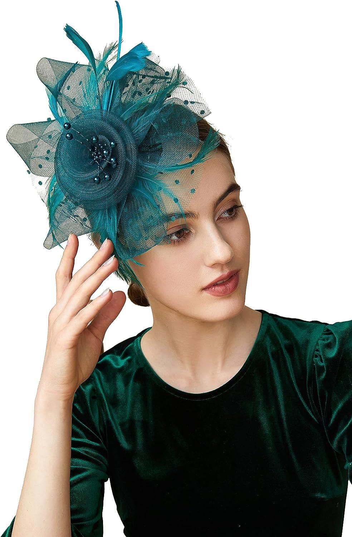 Max 76% OFF BABEYOND Women's Fascinators Hat Mesh Bargain sale Veil Fascinator Ke Feather