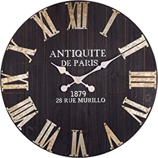 Large Wall Clock, 24-Inch Vintage Paris Decorative Black Farmhouse Clock w/Metal Roman Numerals, Silent Non-Ticking Solid Wooden Clock, Great for Living Room, Dining Room, Bedroom, Kitchen,