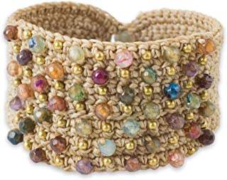 NOVICA Hand Crocheted Wristband Cuff Bracelet with Chalcedony and Labradorite, Life in Pai'