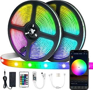 LED Streifenlicht,VIBIRIT Farbwechsel Seil Licht 2x5M Flexibles Bandlicht mit WiFi Controller Wasserdichtes Tape Light Syn...