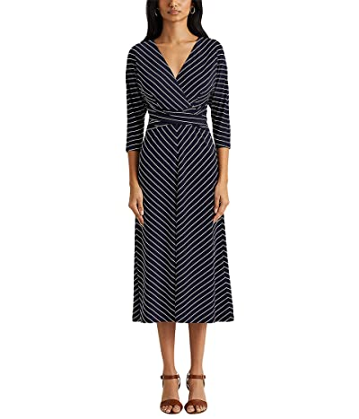 LAUREN Ralph Lauren Striped Jersey Elbow Sleeve Dress Women
