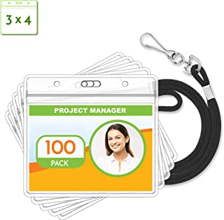 Claev Horizontal ID Badge Holder & Lanyard Set (Black, 3x4 Inch, 100 Pack), Clear Waterproof Name Badge Holders & Soft Braided Lanyards