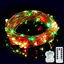 Vinsco String Lights, Battery Operated 33ft/10M 100 LED Copper Wire Dimmable Fairy Light [Waterproof] [8 Modes] with Remote Control for Bedroom Patio Indoor Outdoor DIY Christmas Xmas Tree-Multicolor