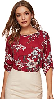 Milumia Women's Casual Roll Up Long Sleeve Basic Work Blouse Top