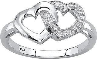 Platinum over Sterling Silver Genuine Diamond Accent Interlocking Heart Promise Ring