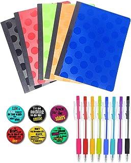5 دفاتر تكوين ملونة، 8 عبوات أقلام متعددة الألوان ومجموعة من 6 قطع مغناطيس خزائن لطيف للأولاد والبنات (ألوان أساسية)