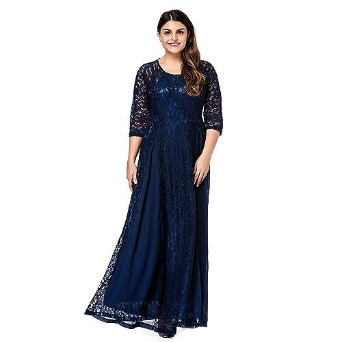 ffaf95cbed ESPRLIA Women s Plus Size Floral Lace 3 4 Sleeve Wedding Maxi Dress