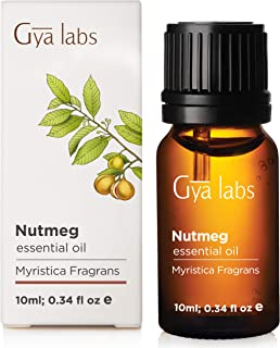Nutmeg Essential Oil for Pain Relief and Diffuser (10ml) - 100% Pure Therapeutic Grade - Gya Labs