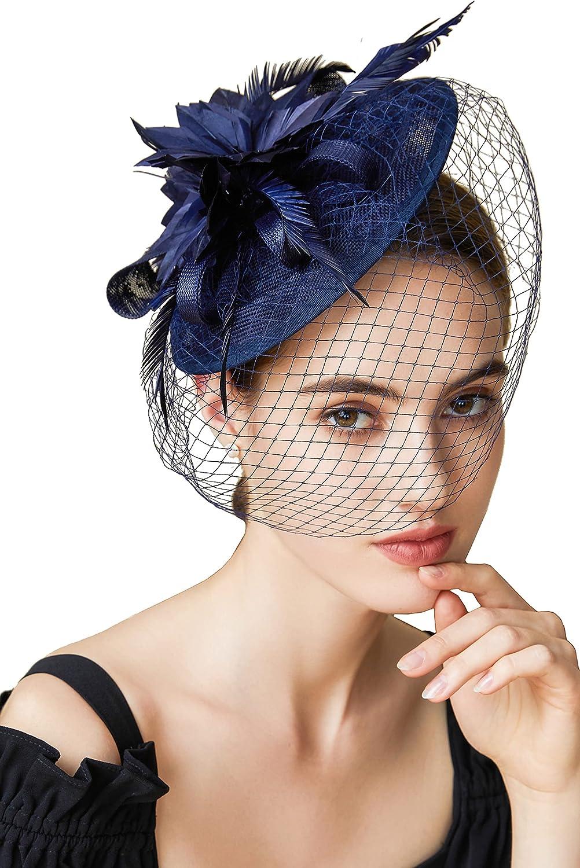 BABEYOND Fascinator Hat Veil Feather Fascinator Hair Clip Tea Party Pillbox Derby Hat Fascinator Bridal Wedding Veil