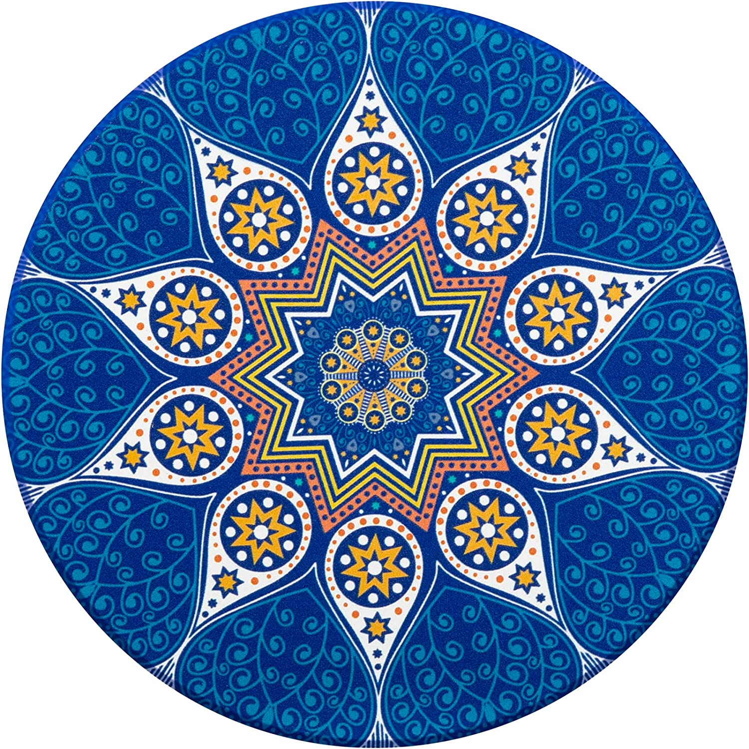 Urbanstrive Mandala Ceramic Coaster for Drinks Absorbent Coasters with Cork Base Stone Coasters Set for Wooden Table, Great Home and Dining Room Decor, Housewarming Gift, One Pack, Sea Blue