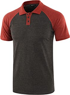 DESPLATO Men Casual Basic Active Short Raglan Sleeve Jersey Henley Polo T Shirt