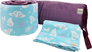 My Blankee 2 Piece Butterfly Blue Crib Set, White/Plum Minky Dot