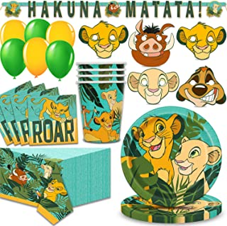Lion King Party Supplies for 16 - Large Plates, Napkins, 16 Masks, Table Cover, Cups, Hanging Banner, Balloons - Great Disney Decorative Birthday Set with Simba, Timon, Pumbaa, Sarabi, Nala and More!