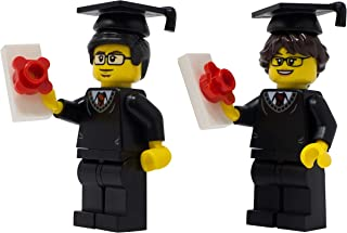 LEGO Male and Female Graduates with Cap and Gowns - Custom School Diploma Minifigures