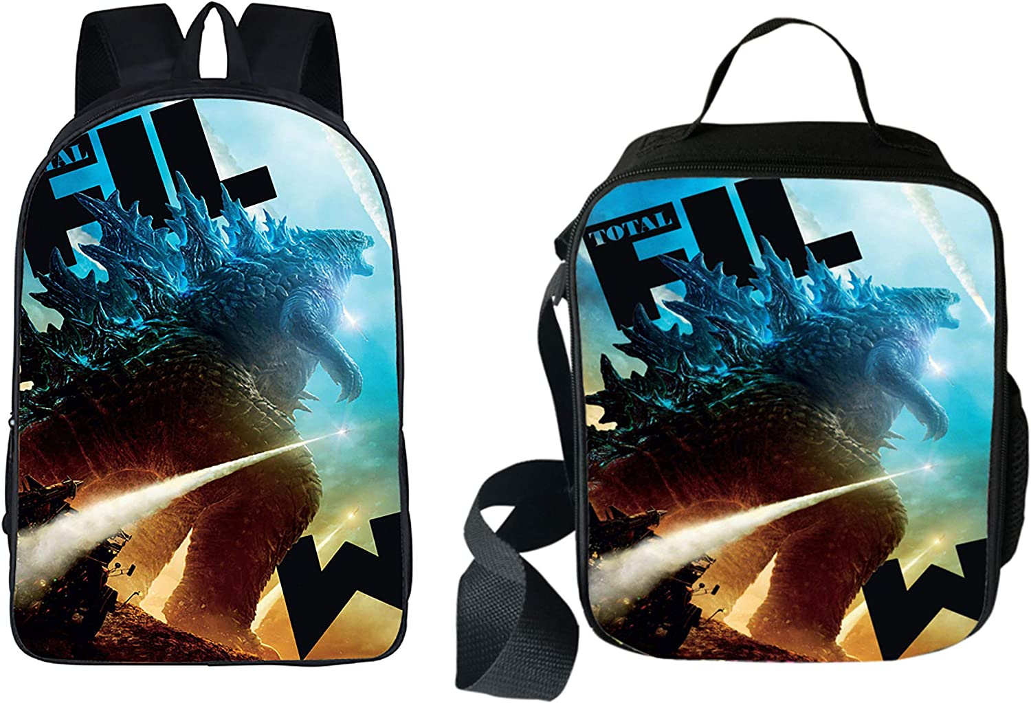 Godzilla Multi-Function Backpack College Bookbag Lunch Bag