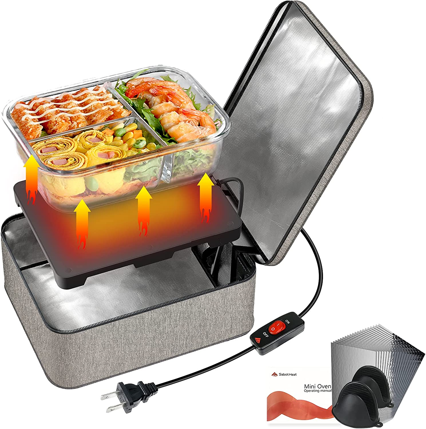 SabotHeat Mini Portable Oven - 120V 90W Fast Heating Portable Microwave with On/Off Switch for Reheating & Raw Food Cooking, Portable Food Warmer Lunch Box for Office, Travel, Home Kitchen(Grey)