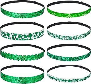 8 Pieces Irish Green Hairbands St Elastic Glitter Hairbands Patrick's Day Headbands
