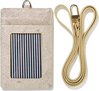 Genuine Leather ID Badge Window Holder Card Neck Strap Wallet Case Landyard Women (Gold)