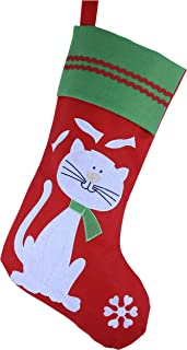 WEWILL Lovely Embroidered Pets Pattern Christmas Stockings Dog or Cat 16-Inch Length (Cat)