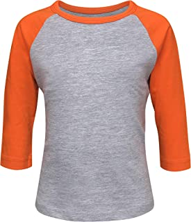 Kids & Youth Baseball Raglan T-Shirt 3/4 Sleeve Infant Toddler Youth Athletic Jersey Sports Casual (20+ Colors)