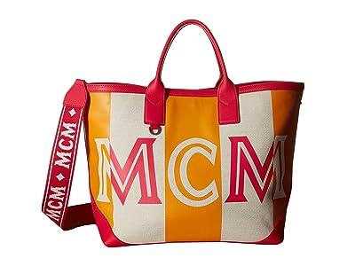 MCM Ilse Canvas Shopper Medium (Love Potion) Tote Handbags