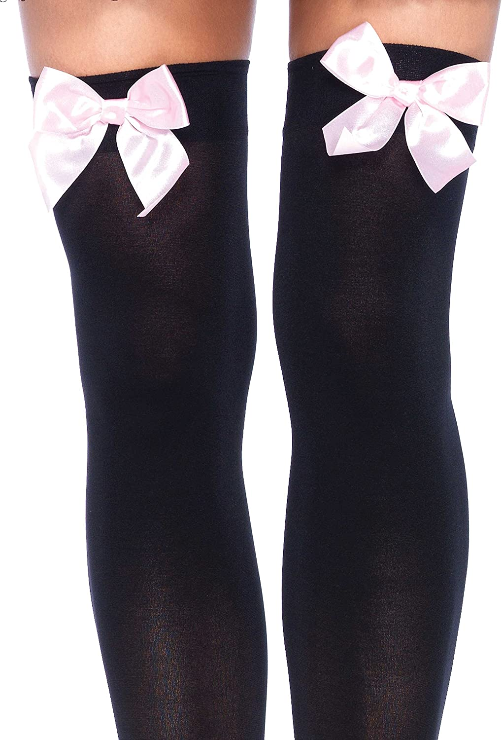 Leg Avenue Womens Opaque Thigh-High Stockings with Satin Bows