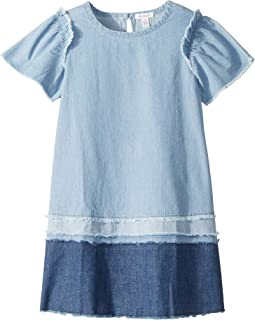 Mix Denim with Fray Dress (Big Kids)