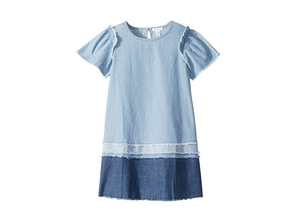 Ella Moss Girl Mix Denim with Fray Dress (Big Kids) (Medium Stone Indigo) Girl