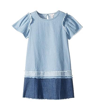 Ella Moss Girl Mix Denim with Fray Dress (Big Kids) (Medium Stone Indigo) Girl