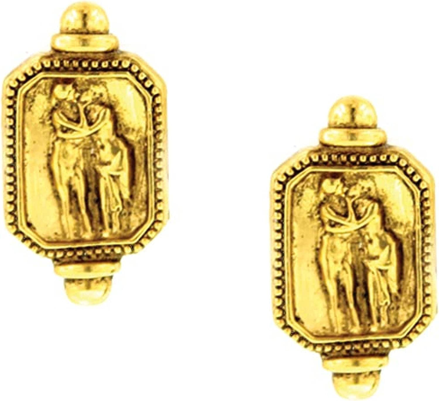 Antiquities Couture Gold Tone Adoration Clip On Earrings