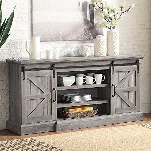 """discount BELLEZE Ashford 60"""" Farmhouse Universal Stand Console Fit TV's Up to 65"""" 2021 Living discount Room Storage Barn Doors and Shelves Entertainment Center, Grey Wash sale"""