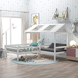 Kids Twin Bed, Wood House Bed with Relax Seat and Railings for Kids,Included Free Cushions,No Box Spring Needed, White