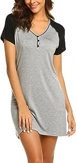 Women'sShort Sleeve V-Neck Nightgown Soft Sleeping Shirts Loungewear Nightshirts