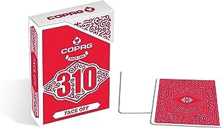 Baraja de Cartas Copag 310 Face Off Red Slimline - Baraja con Caras Blancas y Dorso Rojo