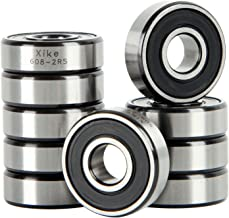 XiKe 10 Pack 608-2RS Precision Bearings 8x22x7mm, Rotate Quiet High Speed and Durable, Double Seal and Pre-Lubricated, Deep Groove Ball Bearings.