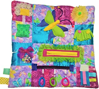 "Fidget Quilt Handmade in the U.S. Memory Loss & Alzheimer's Blanket Dementia Toy with Butterfly Pattern. Size 21"" x 21"""