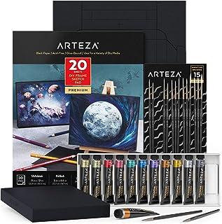 مجموعة إطارات Arteza DIY من Arteza ، لوحة ورق رسم سوداء 12.7 سم × 16.8 سم، 20 ورقة قابلة للطي، للوسائط الرطبة والجافة، مع ...