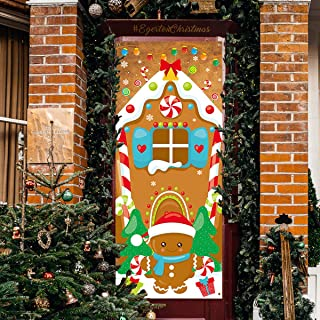 Fancy Land Christmas Gingerbread House Door Cover Ginger Bread Holiday Decoration 72 x 30 Inches