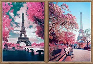 2 Pack 5D Diamond Painting Eiffel Tower by Number Kits Bimkole Paint with Diamonds Arts Full Drill DIY for Home Wall Decor Craft, 12x16inch