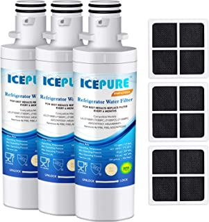 ICEPURE LT1000P Refrigerator Water Filter and Air Filter, Compatible with LG LT1000P, LT1000PC, MDJ64844601, Kenmore 46-9980, 9980, ADQ74793501, ADQ74793502 and LT120F Combo (Pack of 3)