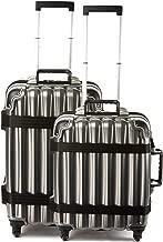 Bundle - 2 items: VinGardeValise Wine Travel Suitcase 12 & 8-bottle - Grande 05 and Petite 03, Silver